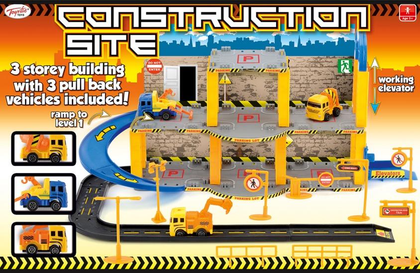 Toyrific Bouw Garage met 3 voertuigen