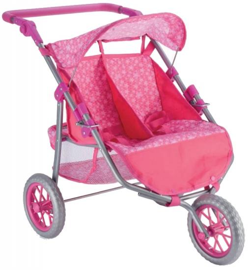 Toyrific poppenwagen 2 Doll Buggy meisjes roze 62,5 x 65 x 41 cm