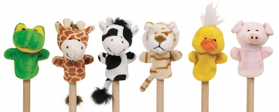 FINGER PUPPETS SET BABY ANIMALS 6 PIECES 7-8cm