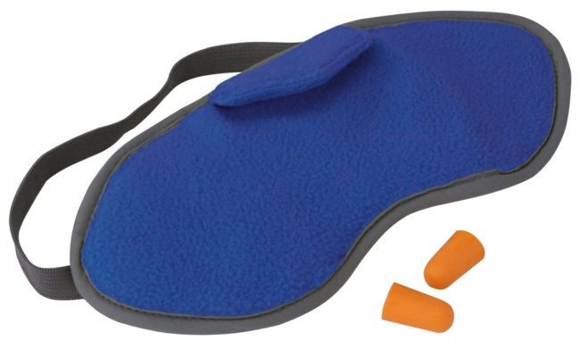 sleep mask with earplugs polyester blue/orange 3-piece