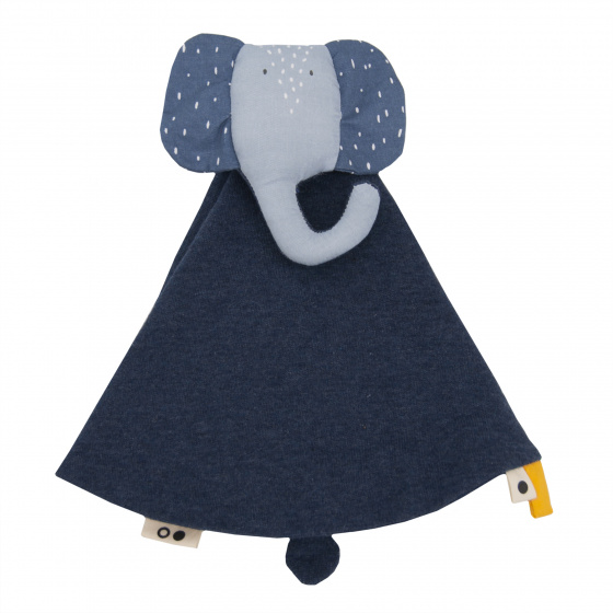 cuddly blanket Mrs. Elephant7 x 7 cm cotton/textile blue