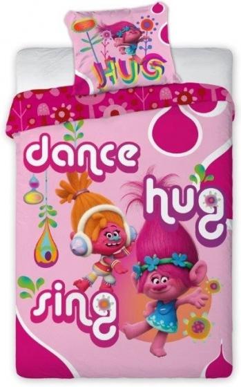 Trolls dekbedovertrek dansen 140 x 200 cm roze
