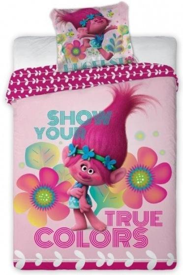 Trolls dekbedovertrek kleuren 140 x 200 cm roze