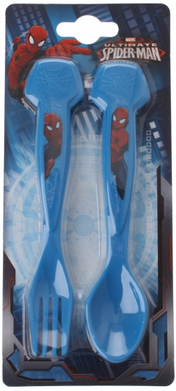 Trudeau Spider Man bestekset blauw kunststof 2 delig