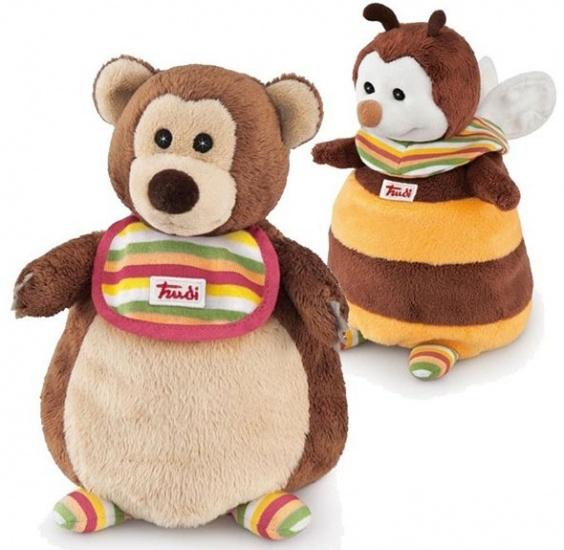 Trudi Handpop duo beer en bij 22 cm bruin/ geel
