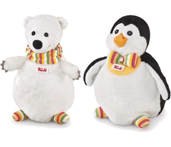 Trudi Handpop duo pinguin en ijsbeer 22 cm wit/ zwart