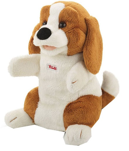 Trudi Handpop hond Beagle 25 cm bruin/ wit