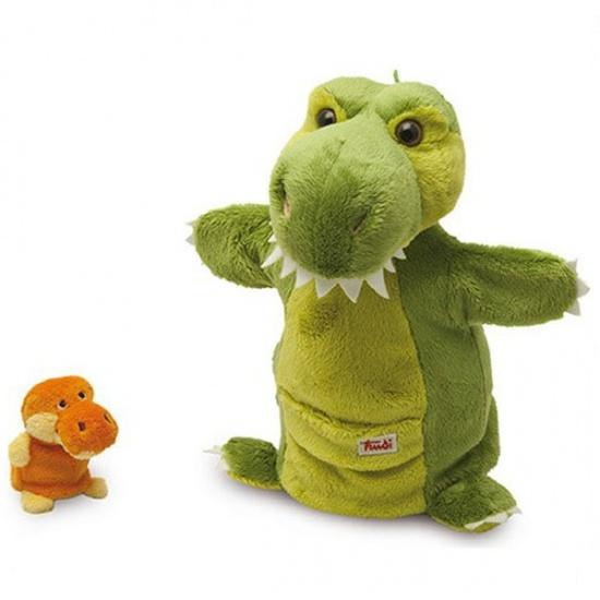 Trudi Handpop Mama & Baby Dino 28 cm Groen