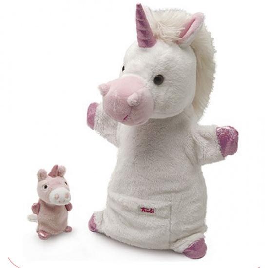 Trudi Handpop Mama & Baby Eenhoorn 28 cm Wit