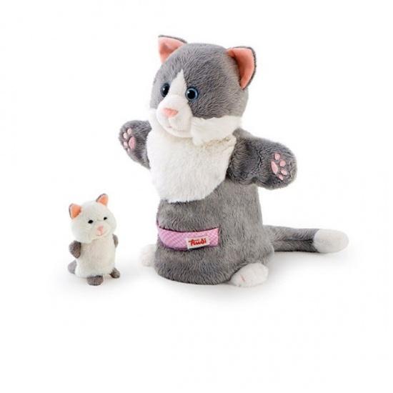 Trudi Handpop Mama & Baby Kat 28 cm Grijs/Wit