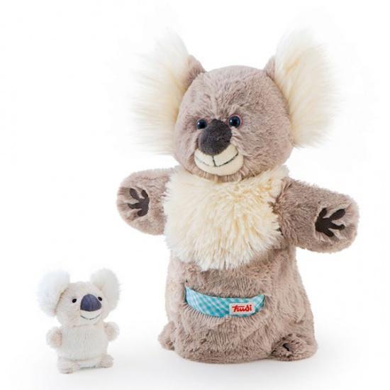 Trudi Handpop Mama & Baby Koala 28 cm grijs