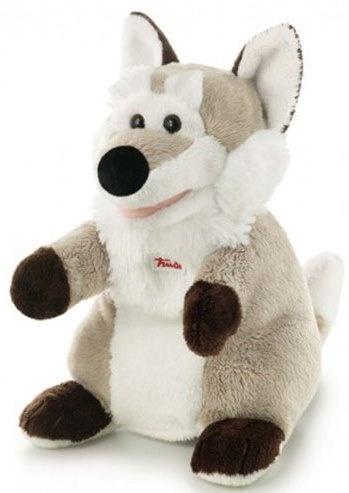 Trudi Handpop wolf 25 cm bruin/ wit
