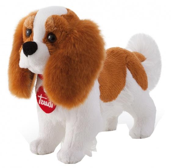 Trudi Knuffel hond Cavalier King Charles 23 cm wit/bruin