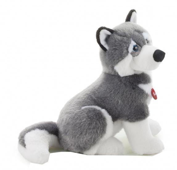 Trudi Knuffel hond Huskey 45 cm grijs/wit