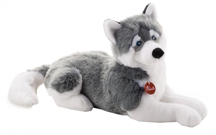Trudi knuffel hond huskey 60 cm grijs wit 122210