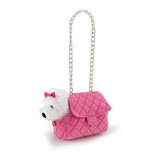 Trudi Knuffel Hond Malteser in tas 20 cm Roze