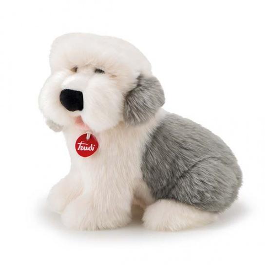 Trudi Knuffel Hond Bobtail Clark Wit/Grijs 34 cm