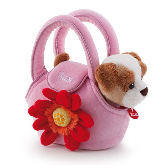 Trudi Knuffelhond in tas 20 cm roze
