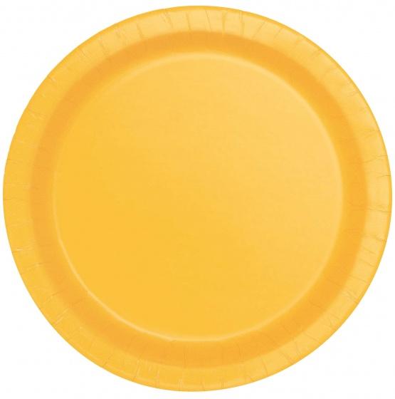 Unique feestborden geel 17,7 cm 8 stuks