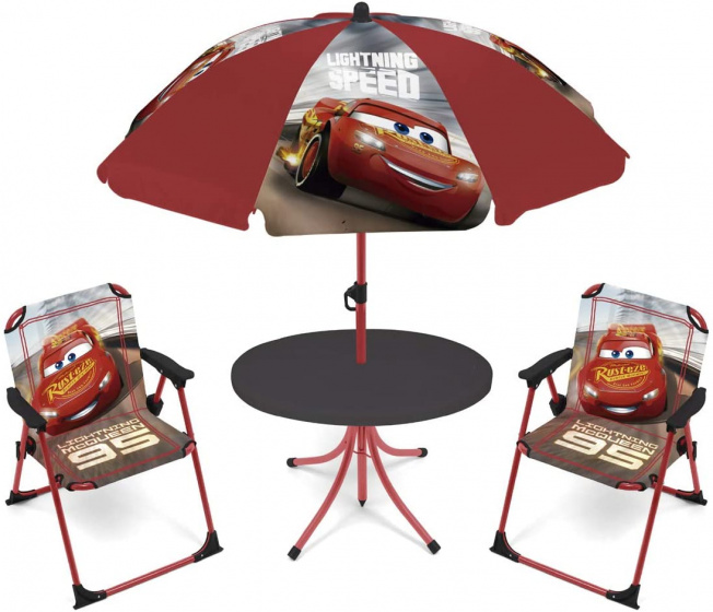 Disney tuinset met parasol Cars polyester rood 4 delig