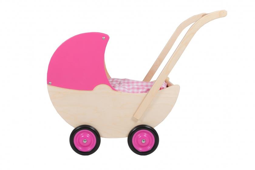 Van Dijk Toys poppenwagen met vaste kap 57 cm roze