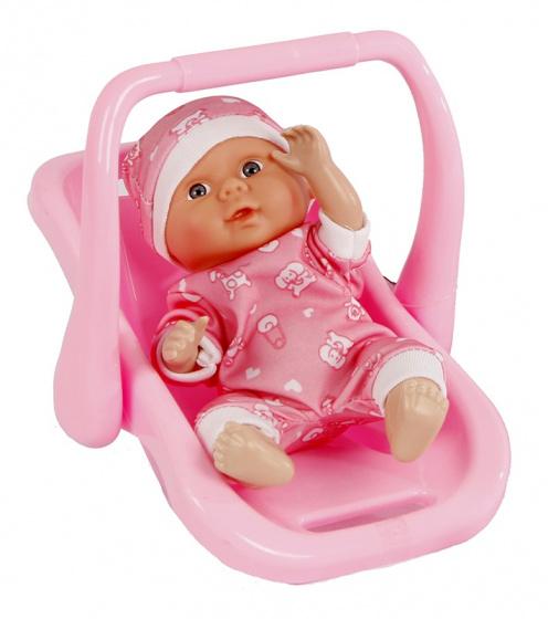 Toys Amsterdam babypop in autostoel meisjes 21 cm roze 2 delig