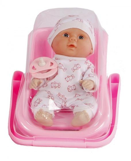 Van Manen babypop in autostoel meisjes 21 cm roze/wit 2 delig