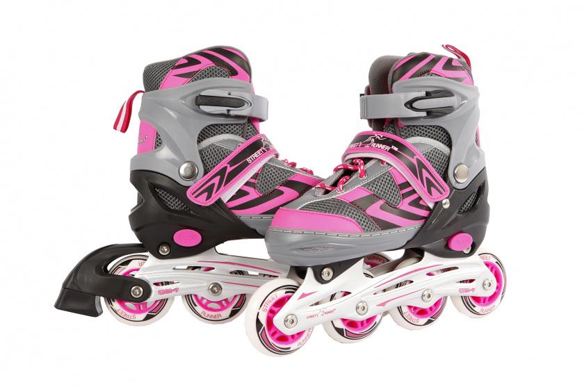 Inline skates roze-grijs maat 31-34