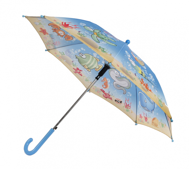 Van Manen kinderparaplu onderzeewereld polyester 57cm blauw