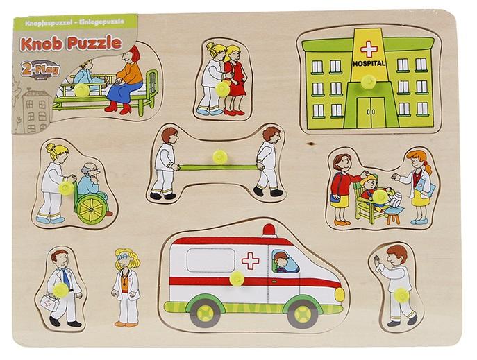Van Manen knoppenpuzzel ambulance junior 30 x 22 cm hout 10 delig