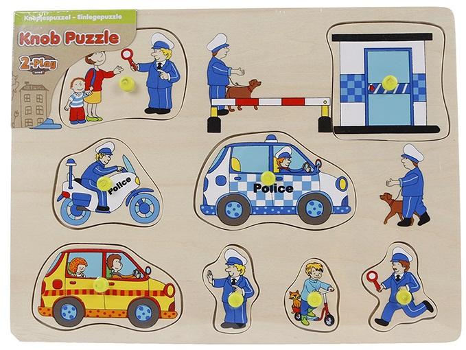 Van Manen knoppenpuzzel politie junior 30 x 22 cm hout 10 delig