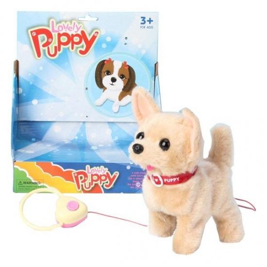 VDM Lovely Puppy interactieve knuffel beige 16 cm