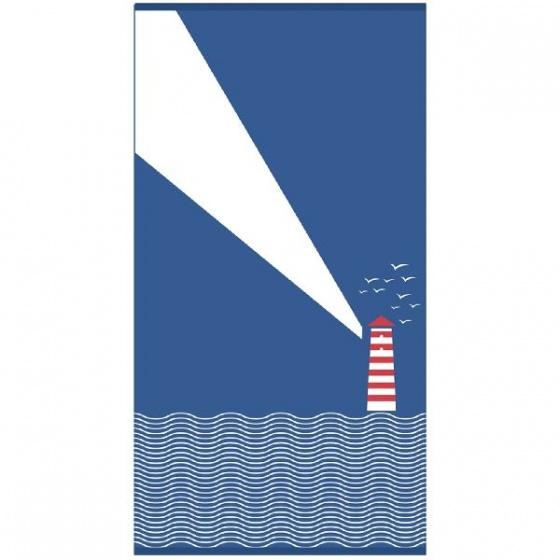VDM strandlaken Vuurtoren 170 x 90 cm blauw