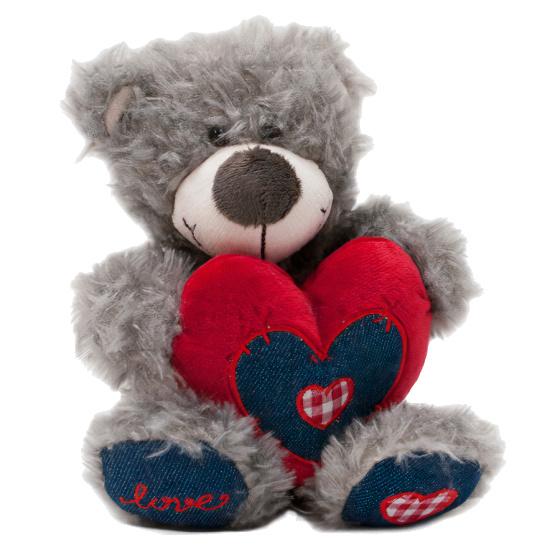 Verhaak knuffelbeer Love junior 18 cm pluche grijs