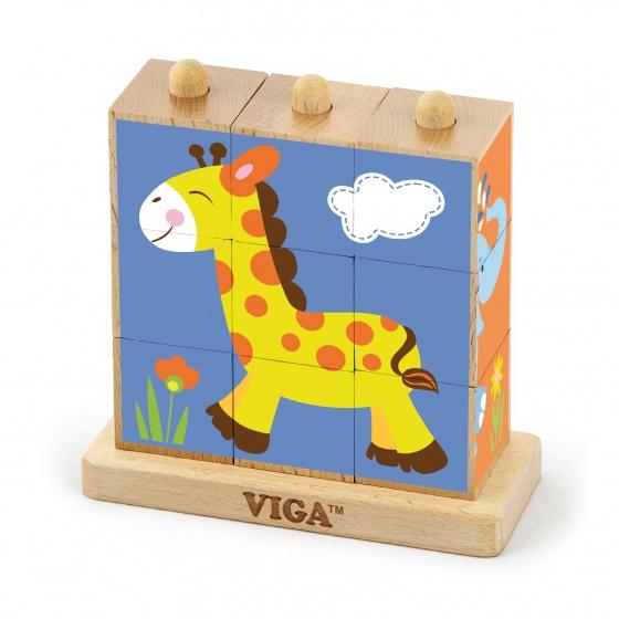 Viga Toys blokkenpuzzel wilde dieren 9 blokken