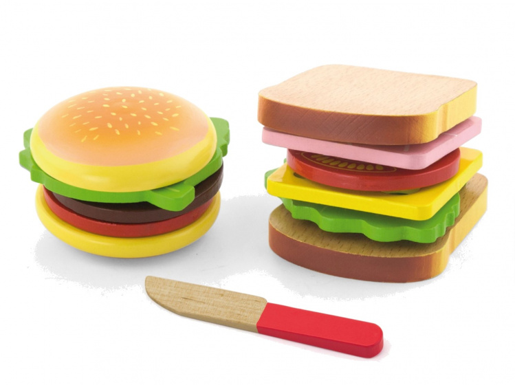 Viga Toys hamburger en sandwich junior hout 11 delig