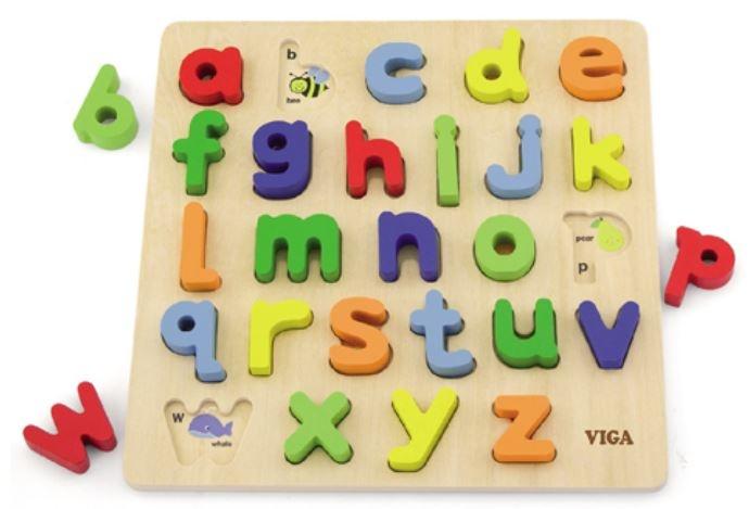Viga Toys houten leerpuzzel alfabet 30 cm