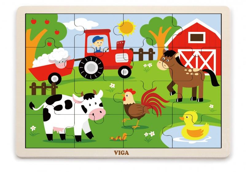 Viga Toys houten legpuzzel boerderij 16 stuks