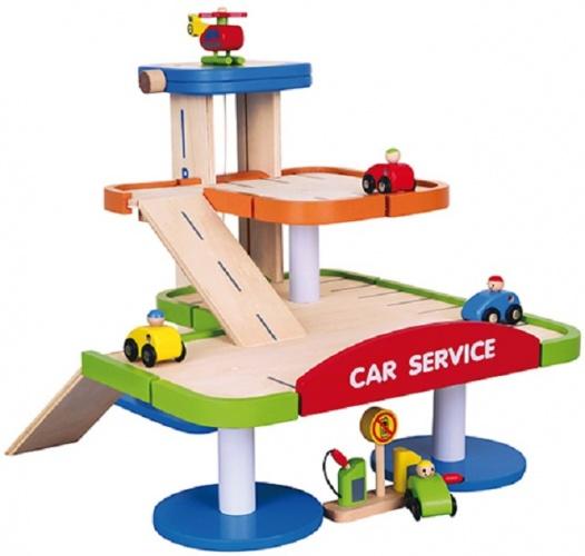 Viga Toys Houten Parkeergarage Met Etage