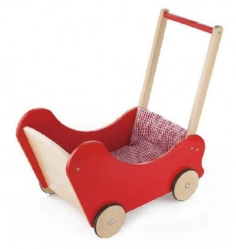 Viga Toys houten poppenwagen 55,3 cm rood