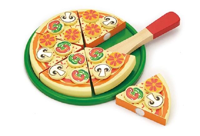 Viga Toys Houten Snijset Pizza Vegetarisch