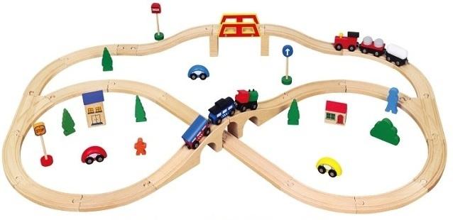 Viga Toys Houten Trein Set 49 Delen