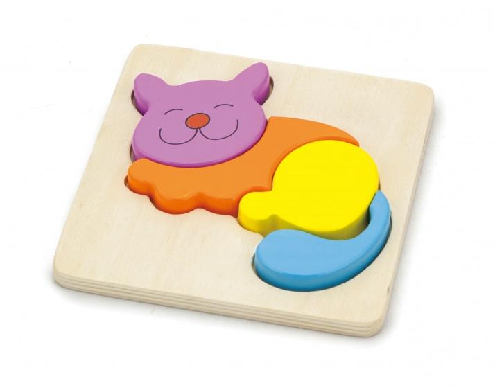 Viga Toys houten vormenpuzzel kat 4 stukjes