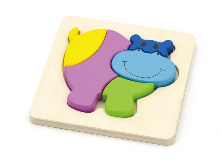 Viga Toys houten vormenpuzzel nijlpaard 5 stukjes