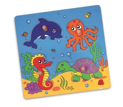 Viga Toys houten vormenpuzzel onderwaterwereld 4 stukjes 22 cm