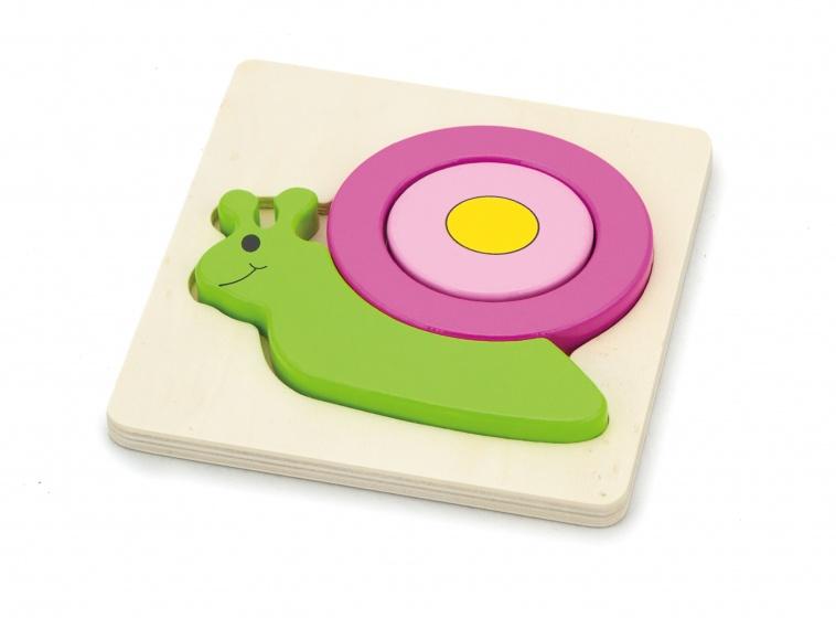 Viga Toys houten vormenpuzzel slak 4 stukjes