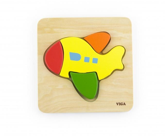 Viga Toys houten vormenpuzzel vliegtuig 4 stukjes
