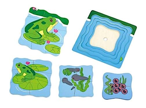 Viga Toys lagenpuzzel groeiende kikker 4 delig