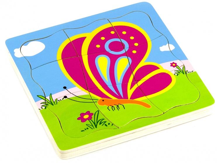 Viga Toys lagenpuzzel groeiende vlinder 21 delig