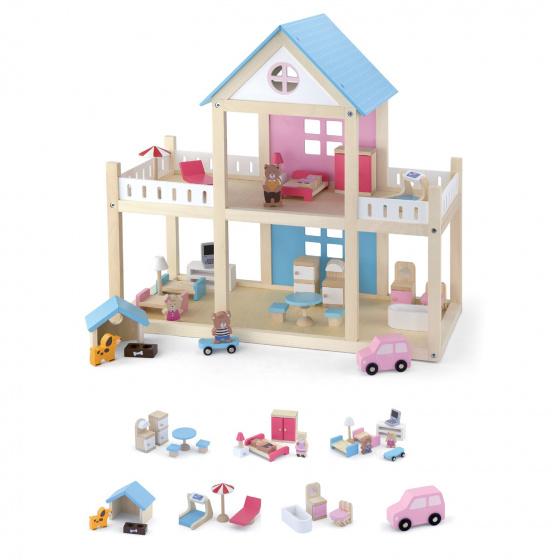 Viga Toys poppenhuis met inrichting 50 x 41,7 x 22 cm hout